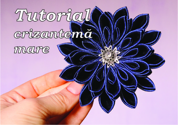 Big satin kanzashi chrysanthemum tutorial (my own design) - Tutorial: crizantemă mare kanzashi din satin