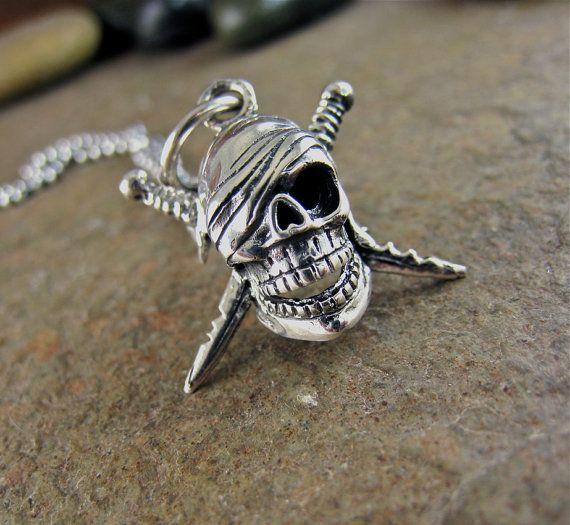 Men's Sterling Silver Pirate Skull Crossbones Sword by organikx