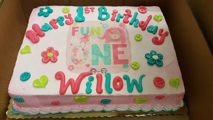 Its fun to be one!  Girls 1st Birthday Sheet Cake Calumet Bakery