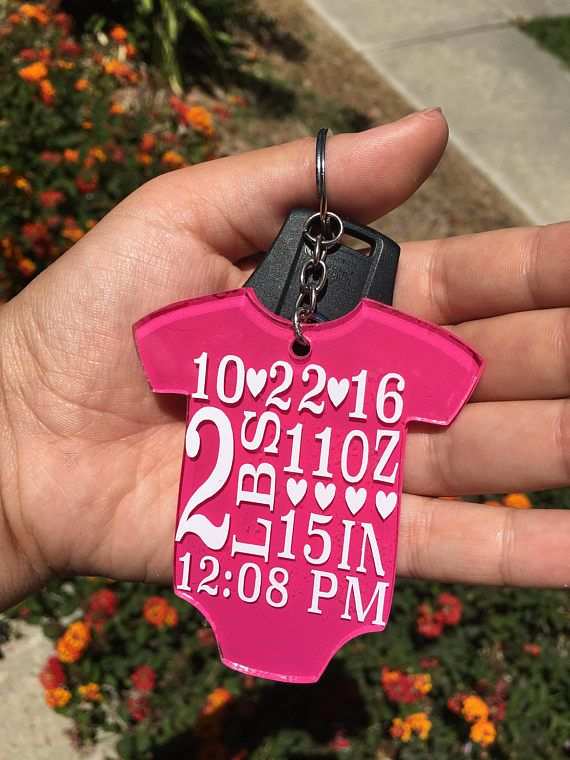 61dc5e870221 Personalized Baby Birth Stats Announcement Acrylic Vinyl Keychain ...