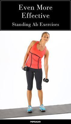 Great for toning the waist and stretching the sides of the body. •Stand with your feet hip-width apart holding five- to 10-pound dumbbells at your sides. •Bend sideways to the right, squeezing your waist on the right side. Keep your neck as neutral as possible, looking forward not down. •Pull the left ribs down to return to standing upright. This focuses the work on the left obliques. •Repeat for a total of 12 bends to the right, then switch sides. Do three sets.