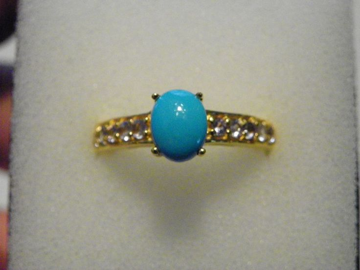 Sleeping Beauty Turquoise (1.00ct)&Tanzanite(.40ct) ring in 14K YG over 925 sz9 #SolitairewithAccents