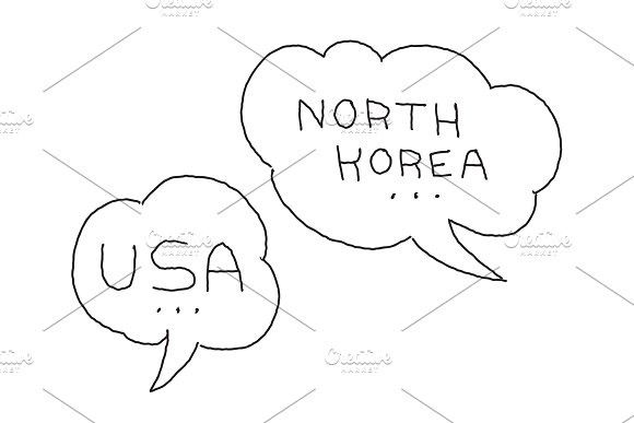 North Korea and USA dialogue bubble. International conflict. Hand drawn vector stock illustration.. Bubble #dialogue #north