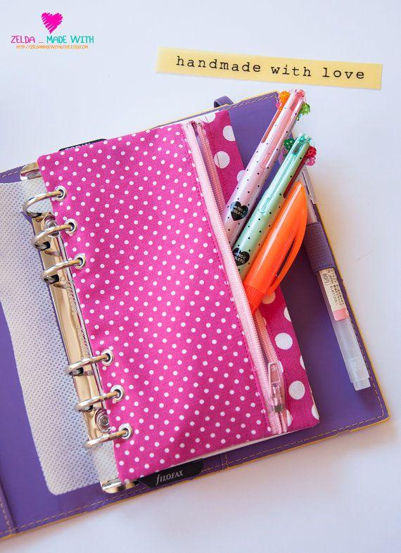 Filofax Personal Zippered Pencil Purse Fucsia Dots
