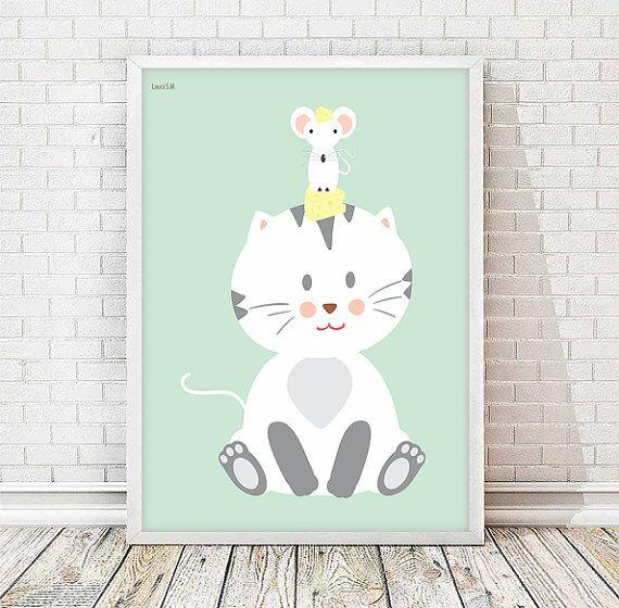 laminas infantiles, animales, laminas animales, laminas a3, a3 imprimibles, ratón,lamina gato, queso, cuadros, decoracion infantil, niños