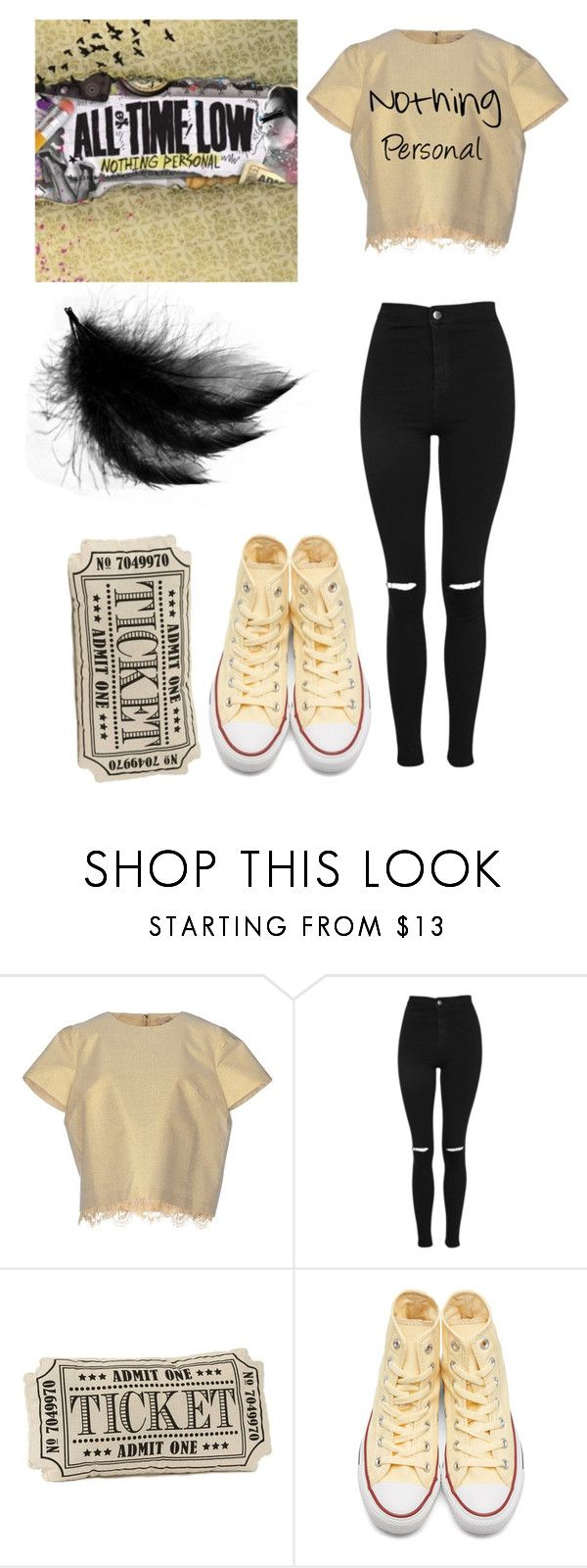 """""""Nothing Personal"""" by universal-mess ❤ liked on Polyvore featuring SCEE, Topshop, Converse, beige, alltimelow, nothingpersonal and admitone"""