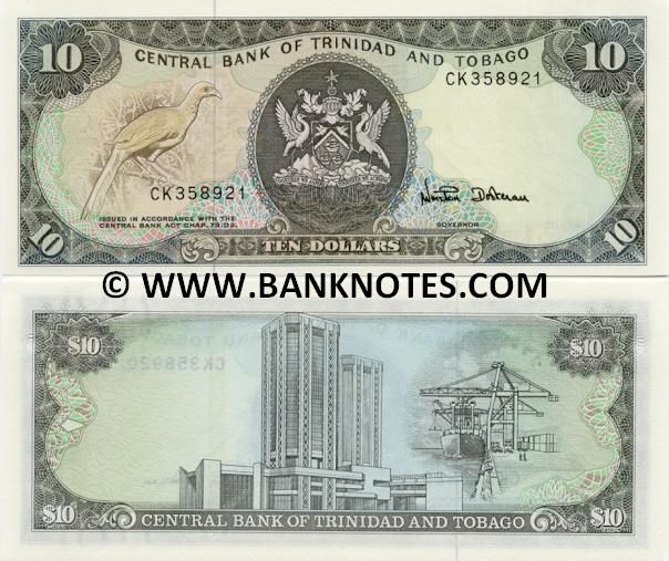 """Trinidad & Tobago 10 Dollars (1985)  Front: Cocorico (Ortalis ruficauda), also known as the """"Chachalaca""""; Back: Eric Williams Finance Building in Port of Spain where Central Bank of T&T is located; Port cargo dockside; Watermark: Bird of Paradise ready to fly; """"10"""" repeated; Signature: Winston Dookeran."""