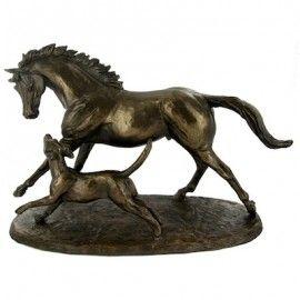 Horse & Hound - Cold Cast Bronze designed by Harriet Glen (29cm)