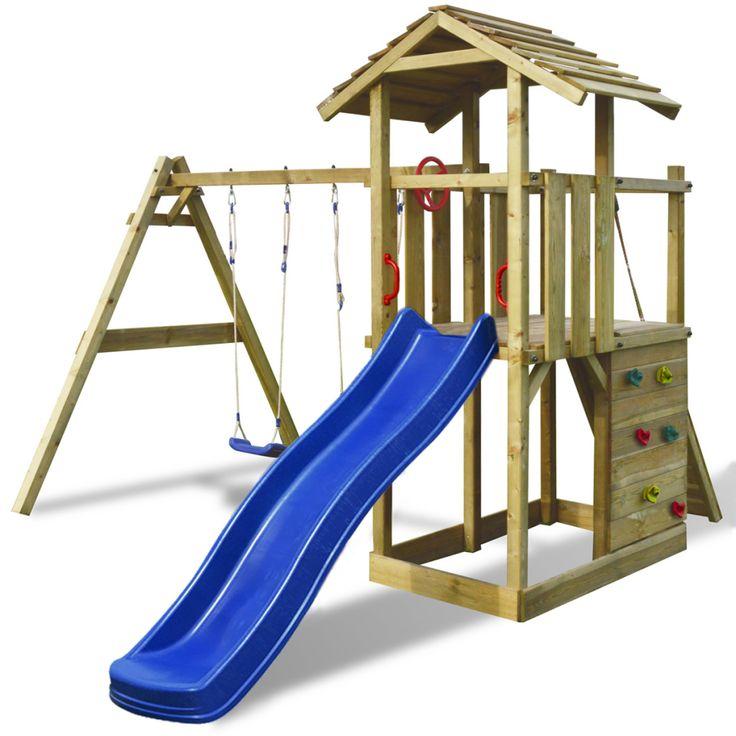 Portique en bois avec échelle, glissoire et balançoire