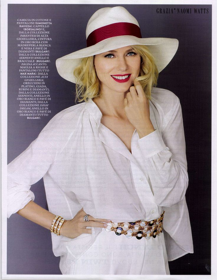 Actress Naomi Watts wears #Borsalino for Grazia Italy's June cover story.