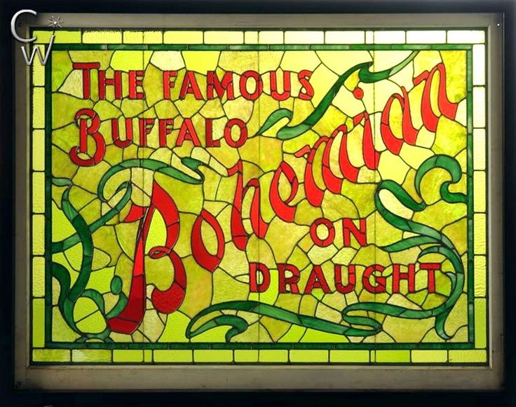 Buffalo Bohemian Beer Stained Glass Sign  The Famous Buffalo Bohemian Beer Stained Glass Sign was offered at Morphy Auctions on October 29, 2016 and realized at $14,400