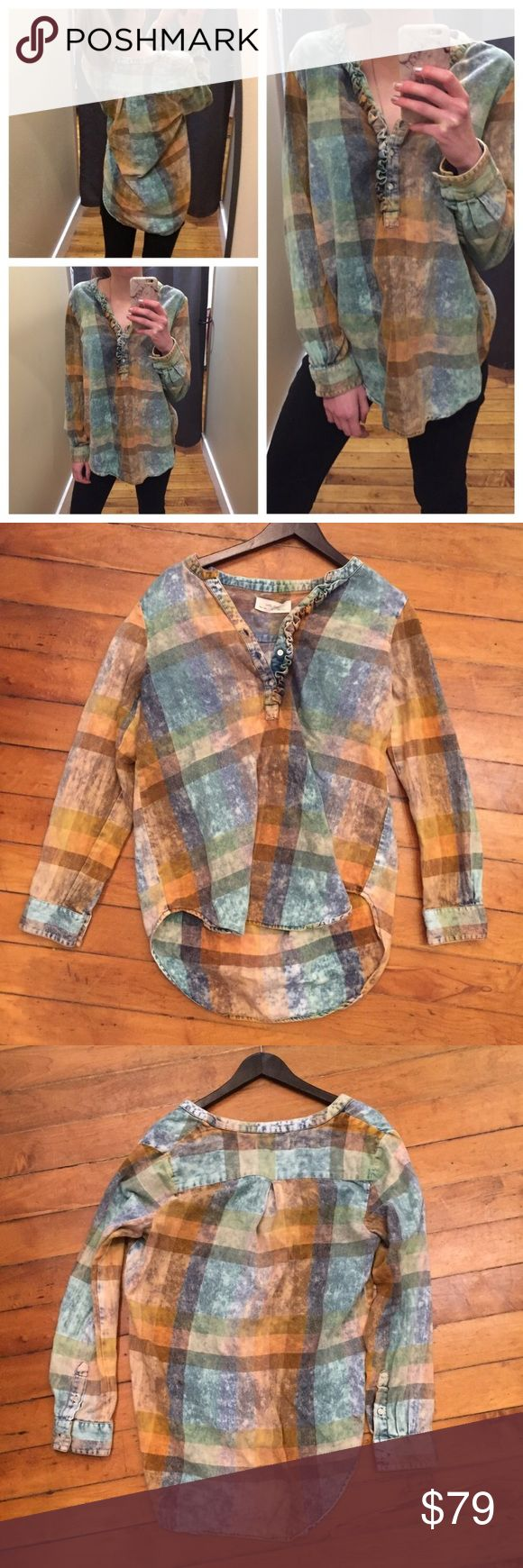 Anthropologie Brand Acid Wash Blue Plaid Tunic Anthropologie Brand called Isabella Sinclair. ⚜️I love receiving offers through the offer button!⚜️ Good condition, as seen in pictures! Fast same or next day shipping!📨 Open to offers but I don't negotiate in the comments so please use the offer button😊 Anthropologie Tops