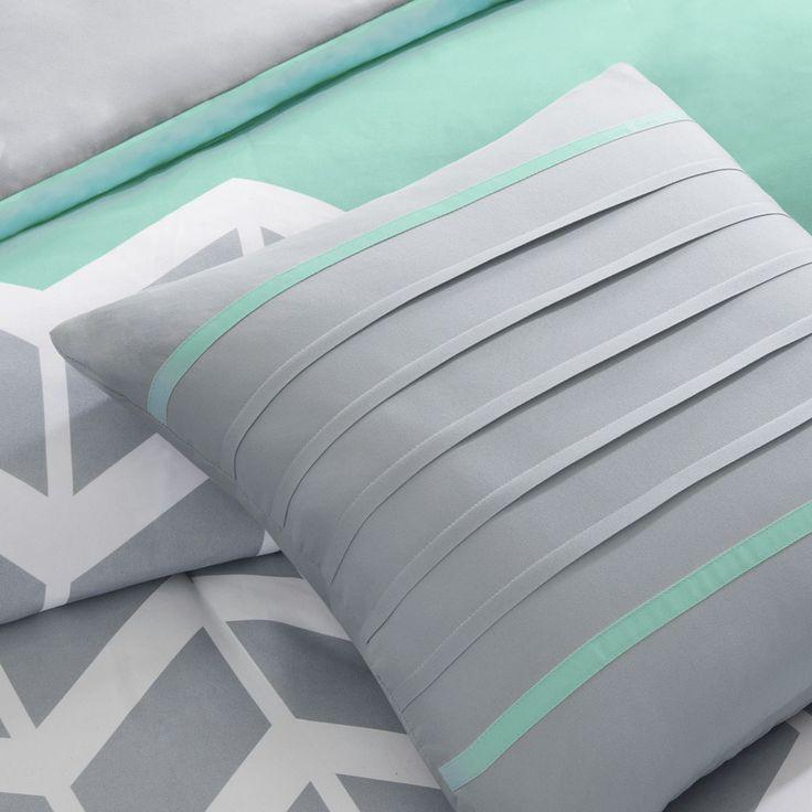 Intelligent Design Laila Grey and Teal Chevron 5-piece Comforter Set | Overstock.com Shopping - The Best Deals on Teen Comforter Sets