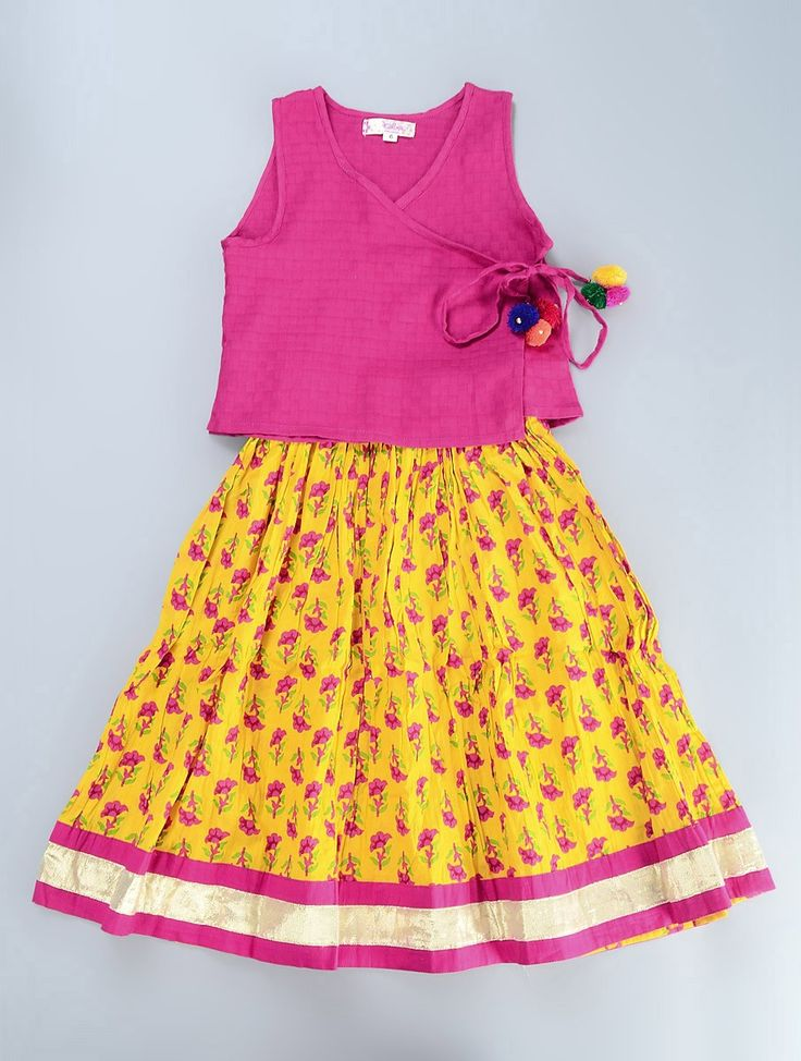 Buy Pink Yellow Cotton Angrakha Choli with Lehenga Set of 2 Kids Little Rajasthan Colourful Sanganeri and Animal Block Prints Apparel for Online at Jaypore.com