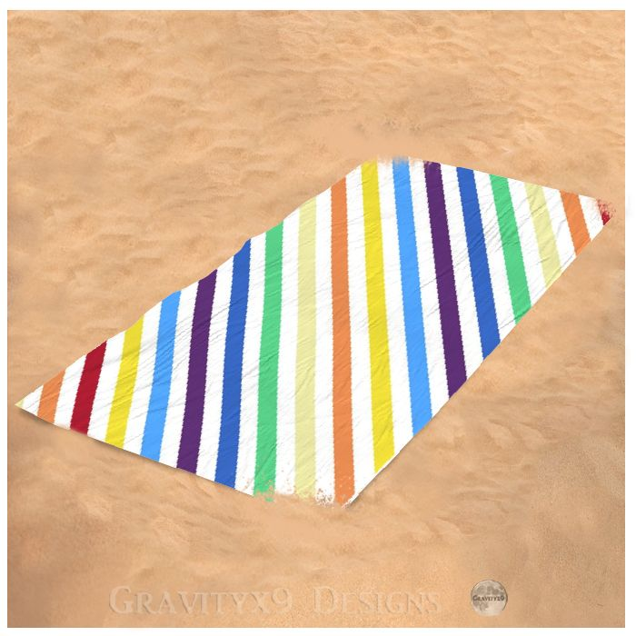 Rainbow Stripes With White Beach Towel For Sale By Gravityx9