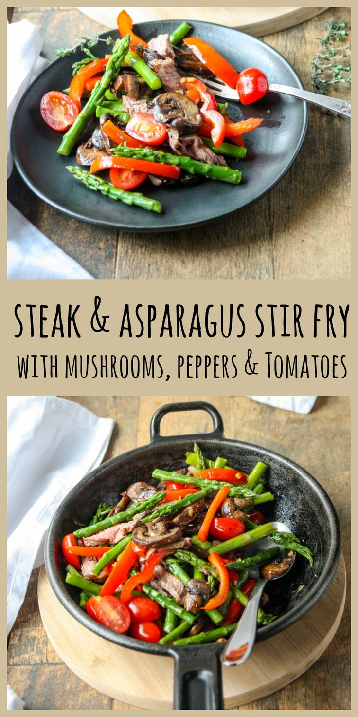 Steak & Asparagus Stir Fry with red bell pepper and mushrooms. A quick and delicous healthy meal that's ready in 15 minu…