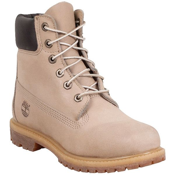 Timberland Women's 6-Inch Premium Off-White Boot ($160) ❤ liked on Polyvore featuring shoes, boots, white, light weight work boots, waterproof work boots, nubuck boots, white shoes and water proof boots