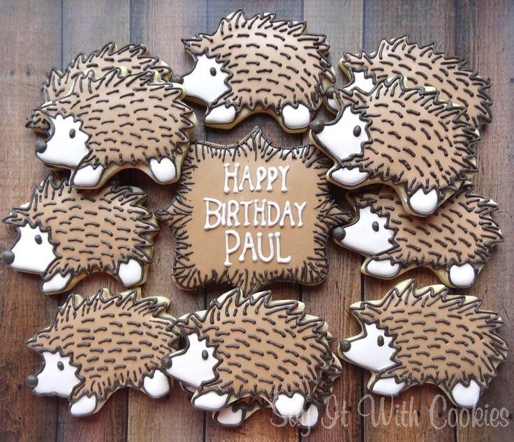 Hedgehog Cookies hand decorated sugar cookies