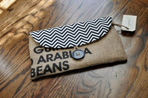 Black and White Chevron Burlap and Fabric by OriginalsShop on Etsy