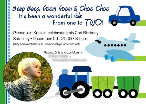 Digital Customized Photo Transportation Trains Planes Cars Birthday Invitation by greatdaygraphics $15.00