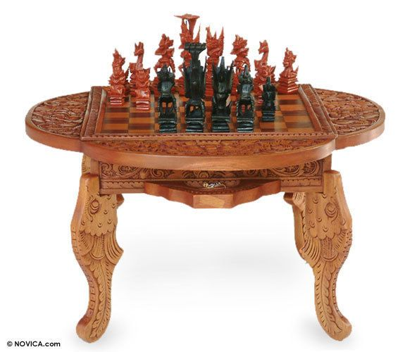 Beautiful Wood Chess Table Set Paradise Ornate Hand Carved W/ Pieces NOVICA Bali