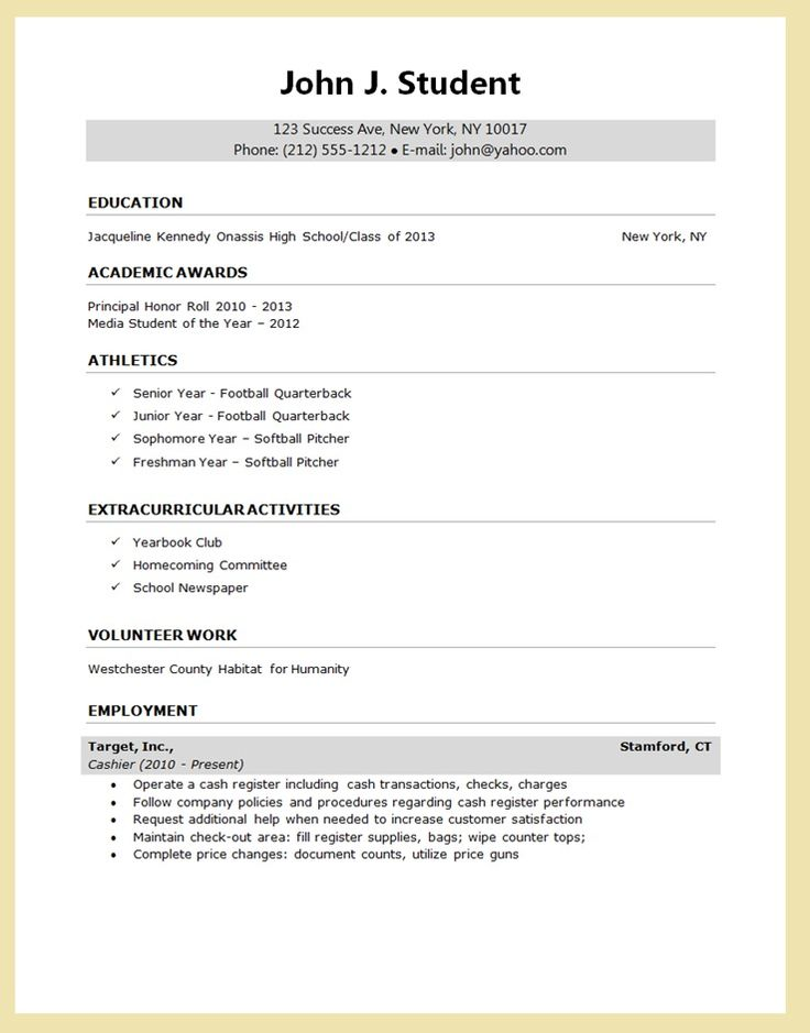 high school student first job resume template no work experience format microsoft word