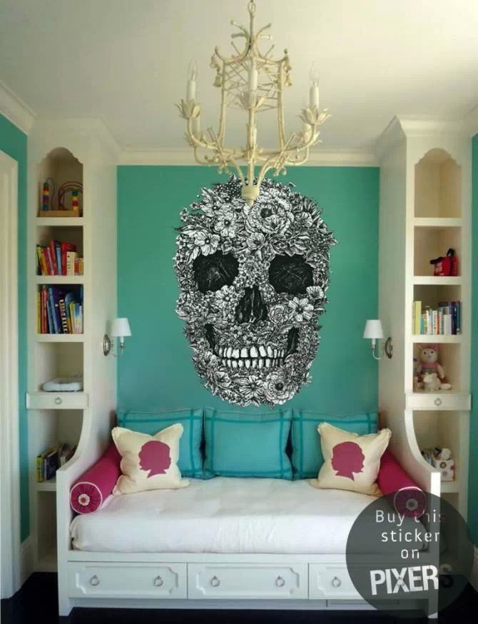 Floral Sugar Skull Wall Mural Decal. The entire room is beautiful & I love the wall color!