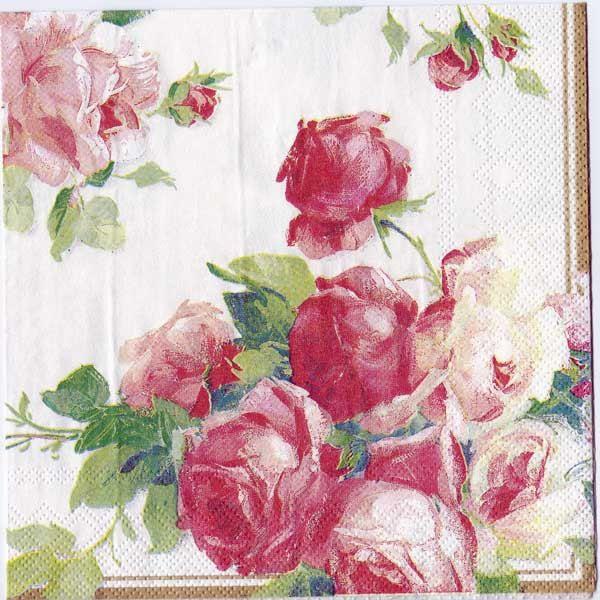 Decoupage Napkin- Victoria Rose on pearl white- Made in Germany by Chiarotino on Etsy