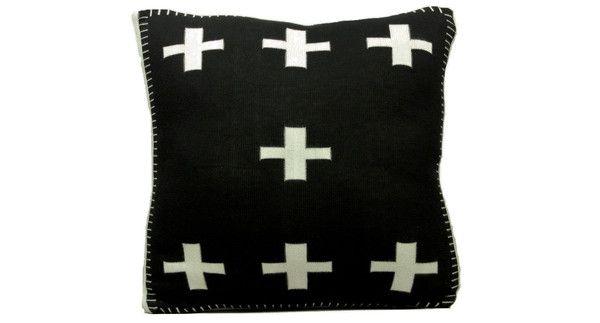 Crosses Cushion in black