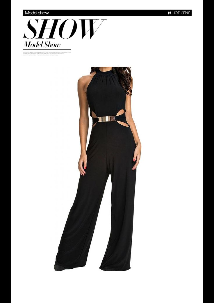 Aliexpress.com : Buy 2015 Sexy Sophisticated Cut outs Black Halter Neck Wide Leg Jumpsuit Summer Bodycon Overalls for Women macacao feminino from Reliable jumpsuit red suppliers on Hot Genie Authentic Brand Shop | Alibaba Group