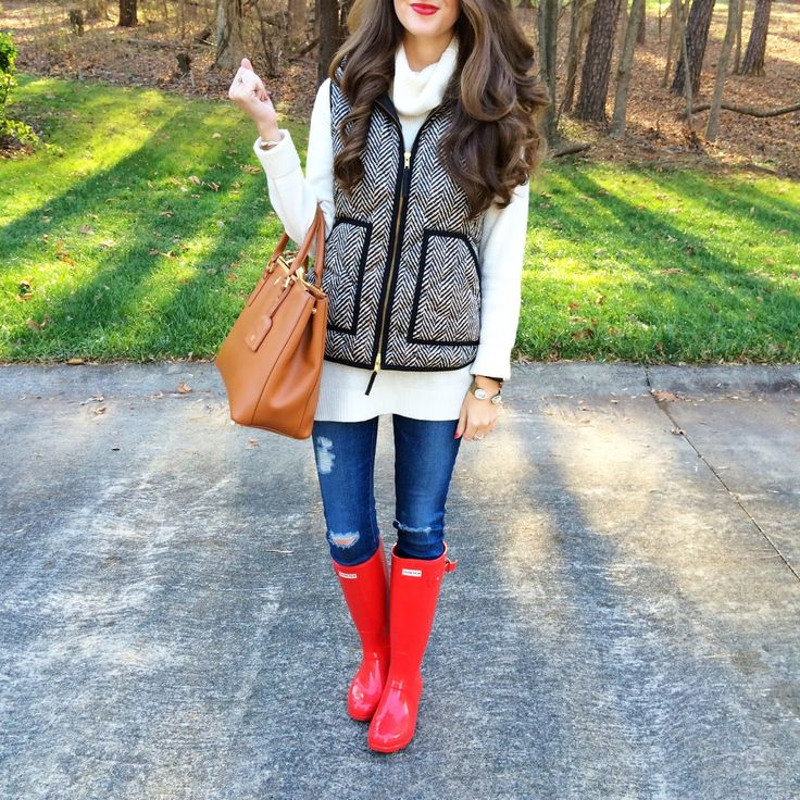 herringbone vest + red hunter boots..: