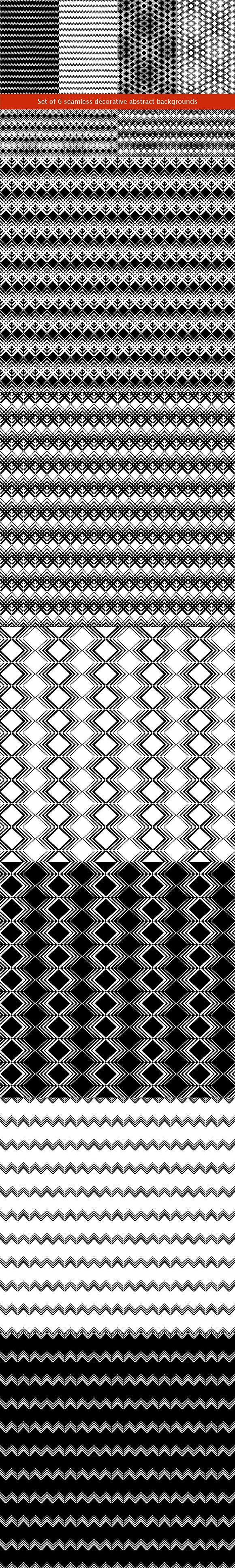 Set of 6 seamless backgrounds. Patterns