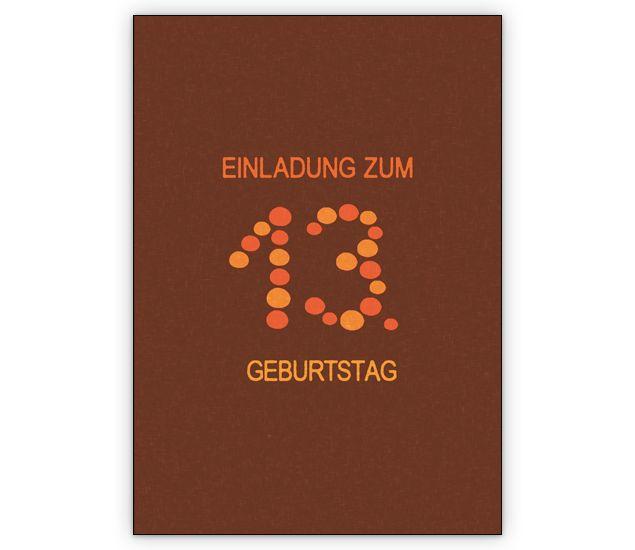 Coole Geburtstags Party Einladungskarte Für Teenager: Einladung Zum 13.  Geburtstag   Http://www.1agrusskarten.de/shop/coole Geburtstags Party Einlau2026