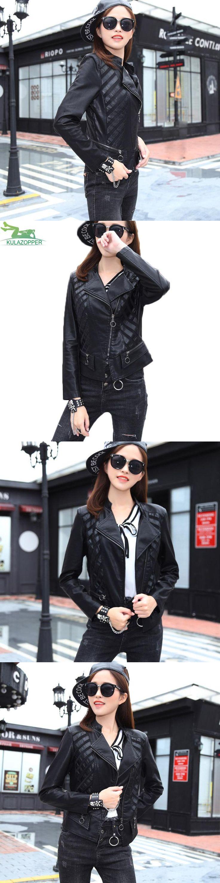 women leather jacket 2017 autumn new black PU leather coat casual short style spliced Leather stripes female leather coat QW423