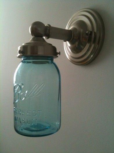 replace sconces with jars?: Ball Jars, Ideas, Craft, Canning Jars, Mason Jars, Light Fixture, Jar Lights