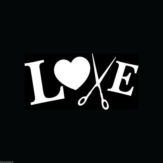 Love Heart Scissors HAIR STYLIST Hairdresser Hairstylist Decal Sticker Comb for Car Truck SUV Van Window or Laptop Wall