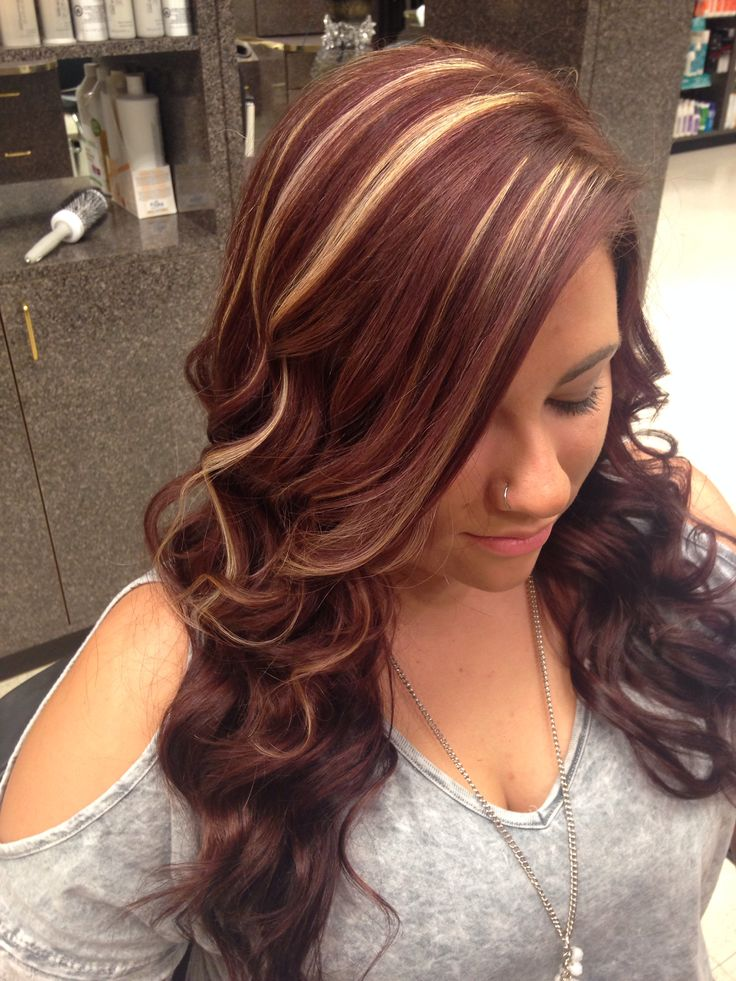Red violet hair with highlights. I love it. Fall/winter hair