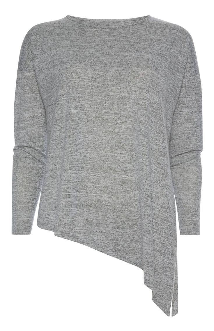 Primark - Grey Asymmetric Long Sleeve Top