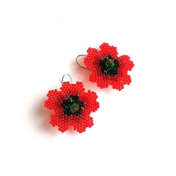 Beautiful beaded poppy earrings. Red-black-bronze-light green. Earrings are made very carefully and accurately of Japanese beads Toho and czech beads