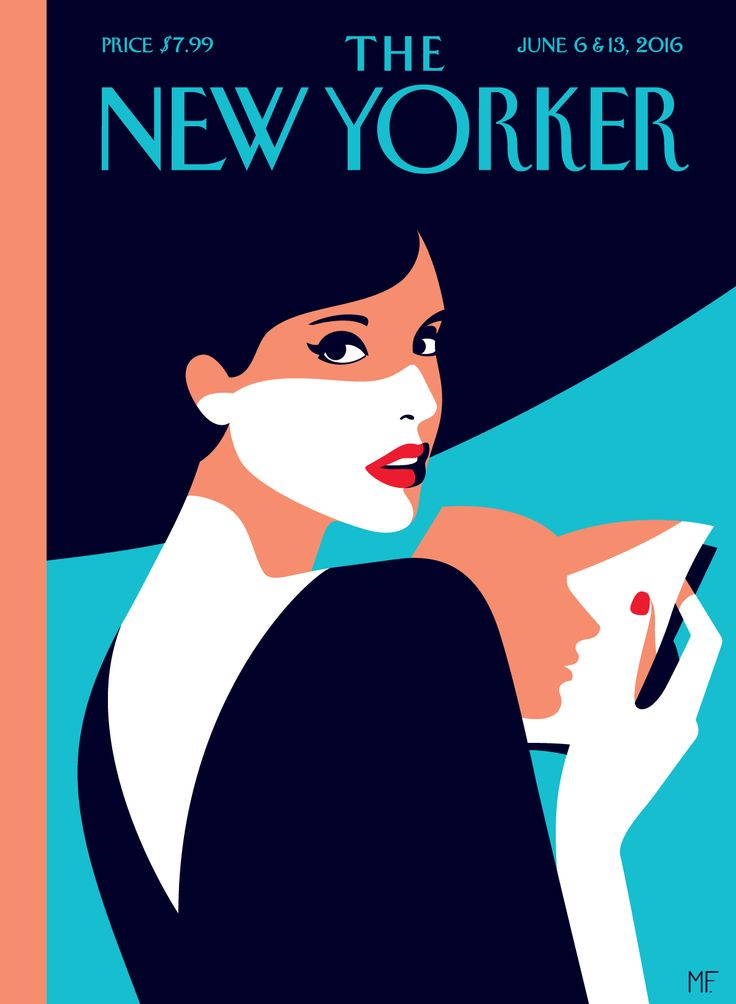 "Malika Favre - ""The New Yorker - Page turner"" • un-kitchy, classic art poster style à la Art Deco & Bagel cocktail • french graphic illustrator • official site: http://malikafavre.com"