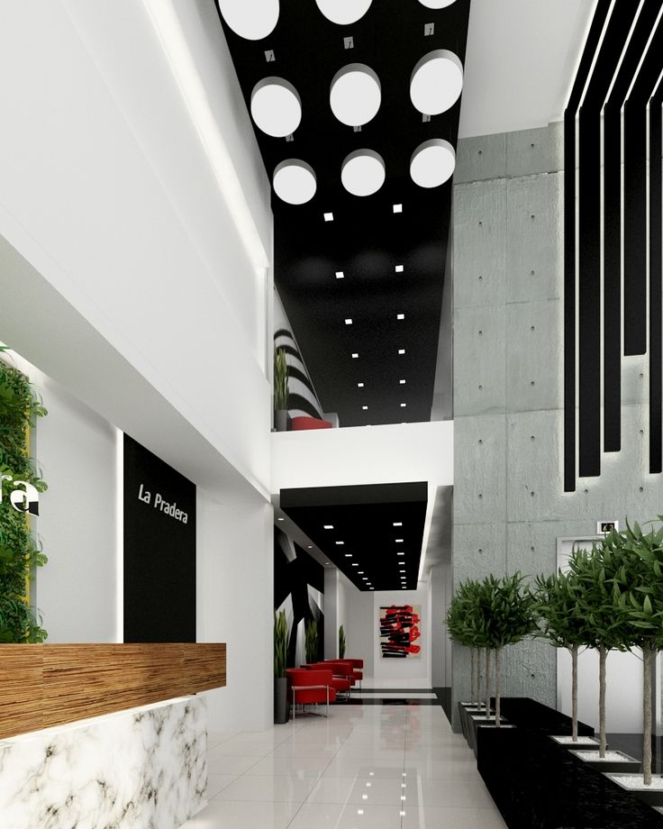 Diseño interior comercial lobby edificio oficinas
