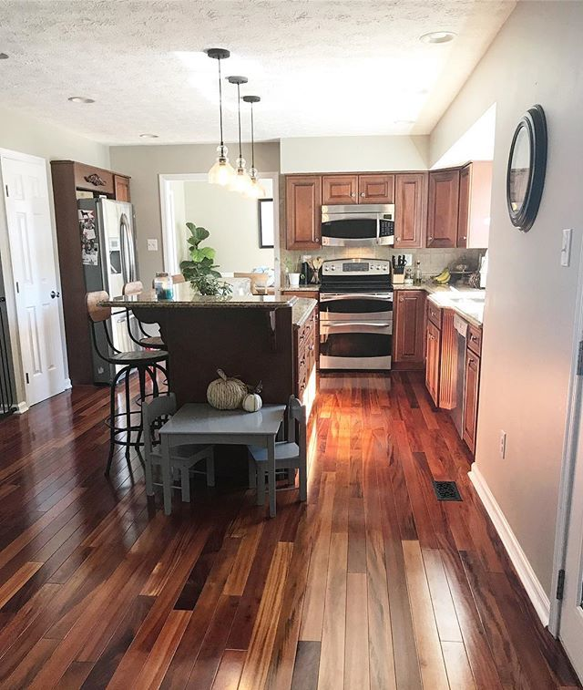 Small Kitchen Design With Cherry Wood Cabinets Revere