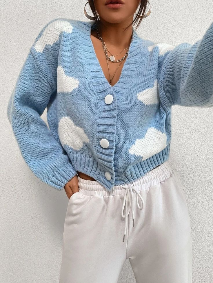 Clouds Pattern, Fashion News, Drop, Pullover, My Style, Nice, Shoulder, Crochet, Sweaters