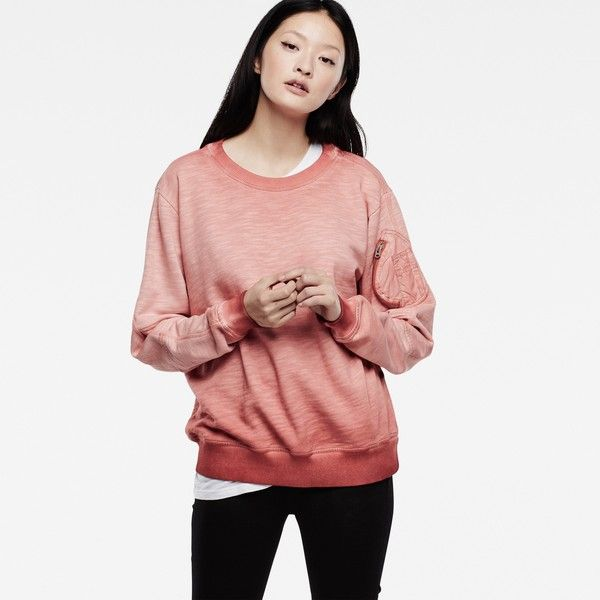 G-Star Raw Skit Boyfriend Sweater (£92) ❤ liked on Polyvore featuring tops, sweaters, lt kecap, loose sweater, boyfriend sweater, loose white top, boyfriend tank top and white top