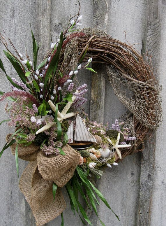 Sailboat Wreath Beach Wreath Summer Cottage by NewEnglandWreath, $139.00