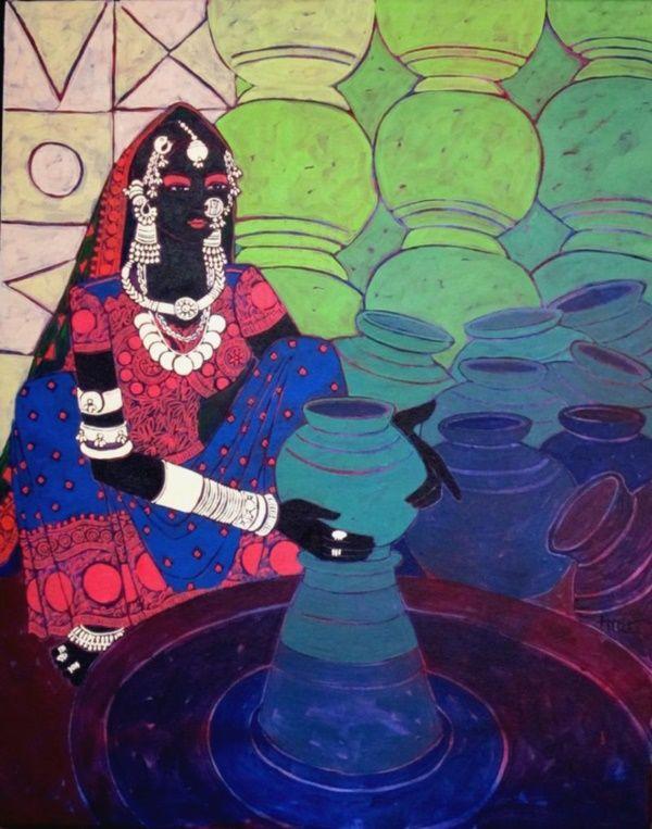 Easy Acrylic Painting Ideas For Beginners Folk Art Painting Simple Acrylic Paintings Rajasthani Painting