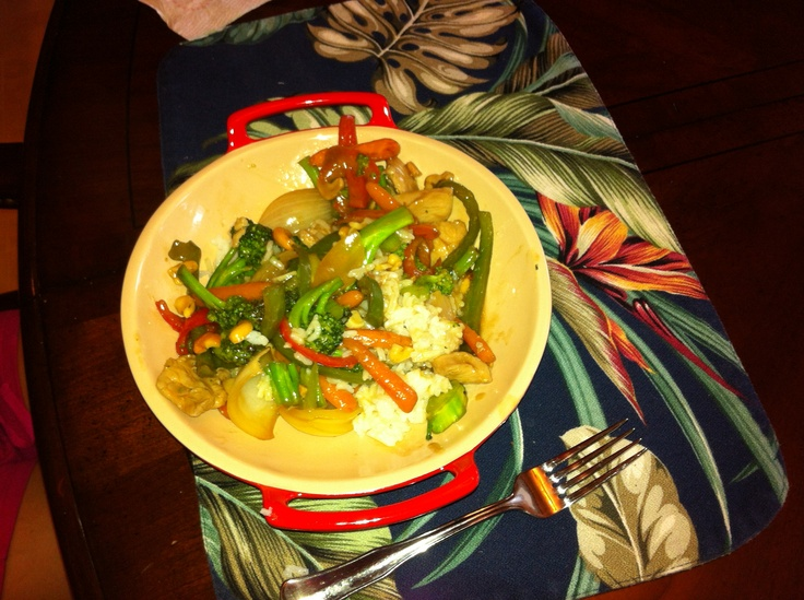 Chicken stir fry. Broccoli and peppers from the garden.