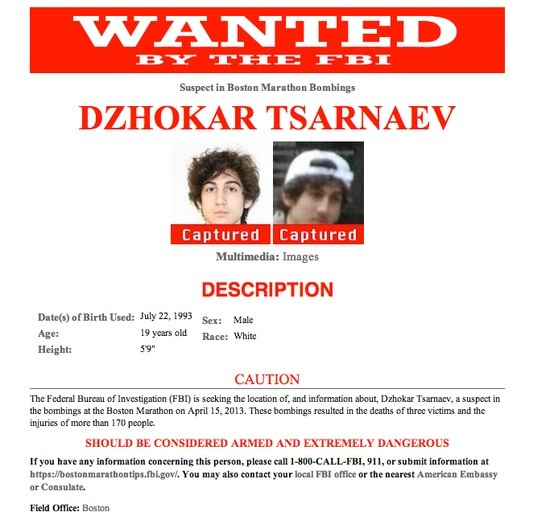 BOSTON MARATHON BOMBERS You can run, but you can't hide!