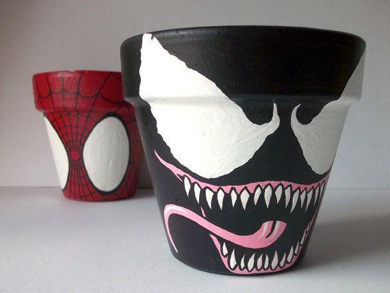 Venom Spiderman Villain Painted Flower Pot Marvel Spider Man on Etsy, $16.00