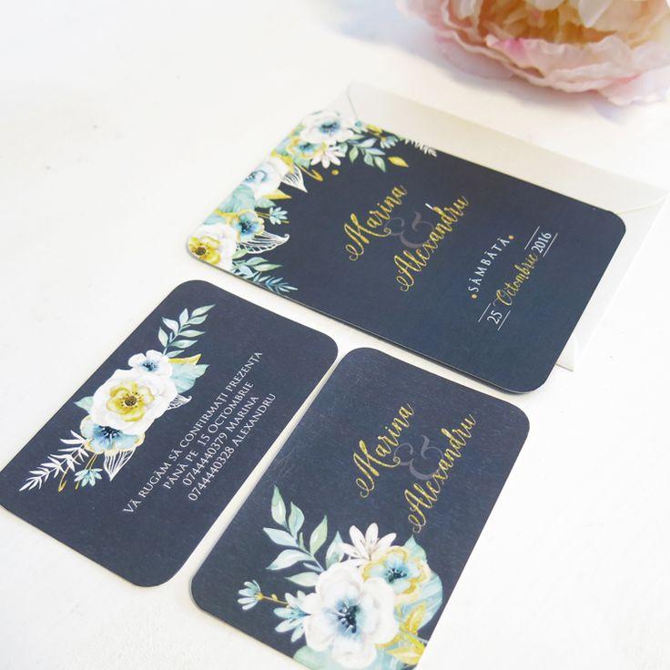 Invitatie de nunta Mint Flower - 4,5